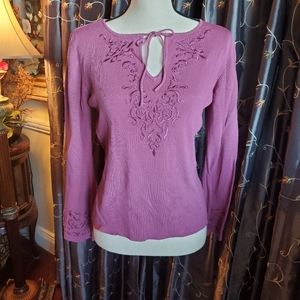 Nwot Pink embroidered sweater